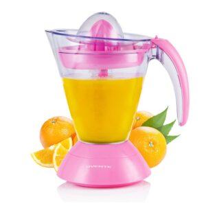 Ovente 34 oz. Pink Electric Citrus Juicer 2 Auto-Reversing Cones Capacity, Pressure-Activated, Strainer, Pulp Control