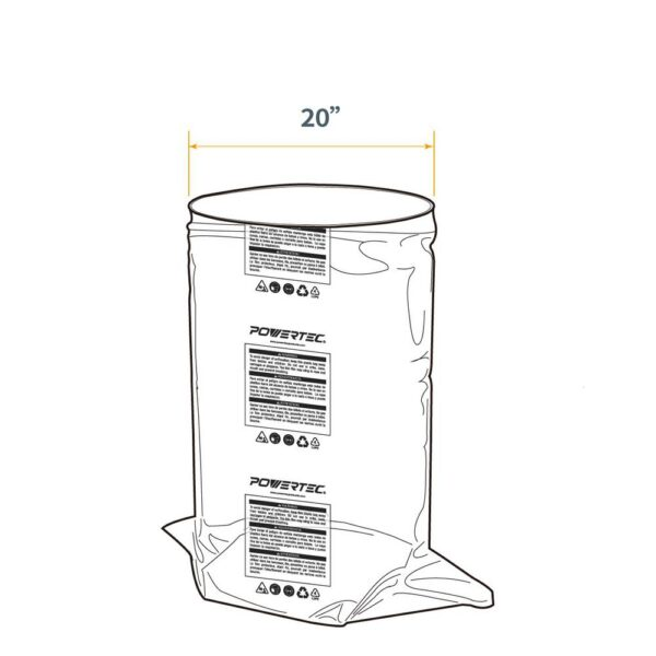 POWERTEC 20 in. Dia x 43 in. Clear Plastic Dust Collection Bag (5-Pack)