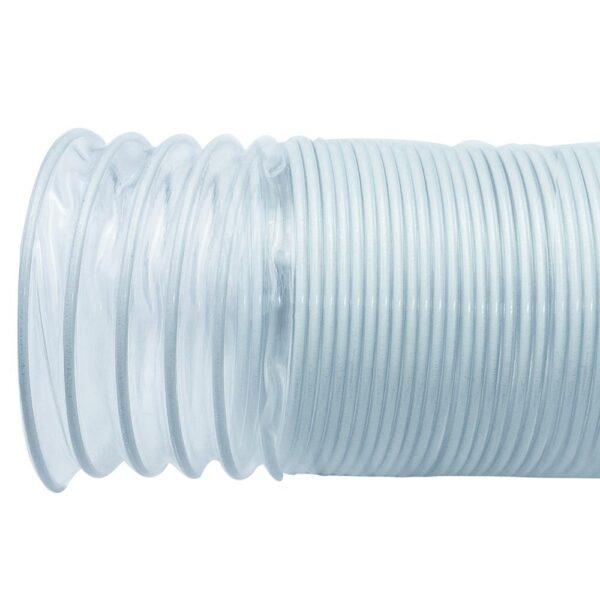POWERTEC 4 in. x 10 ft. Flexible PVC Dust Collection Hose, Clear Color