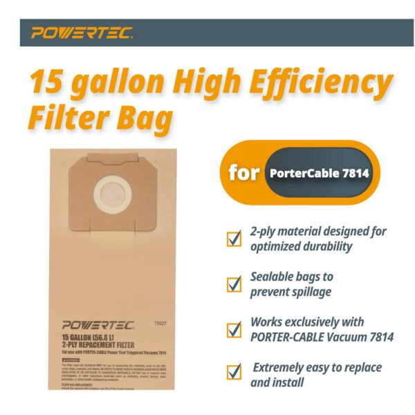 POWERTEC 15 Gal. High Efficiency Filter Bags for PORTER-CABLE 7814 Power Tool Triggered Vacuum (3-Pack)