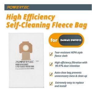 POWERTEC Fleece Bag for DeWalt DWV012 Dust Extractors (5-Pack)