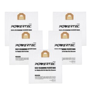 POWERTEC Self-Cleaning Fleece Bag Replacement for Makita VC4710 Wet/Dry Vacuum (5-Pack)
