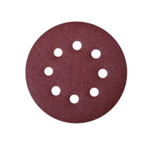 POWERTEC 5 in. A/O Hook and Loop 8 Hole Disc Assortment 40-Grit, 80-Grit, 120-Grit, 220-Grit and 320-Grit in Red (100-Pack)