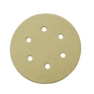 POWERTEC 6 in. 6 Hole 320-Grit Hook and Loop Sanding Discs in Gold (50-Pack)