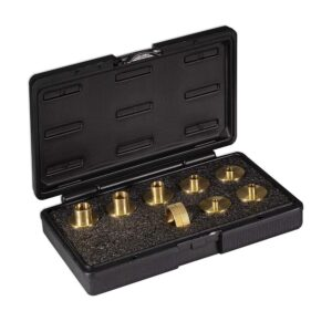 POWERTEC Brass Router Template Guide Set for Porter Cable Style Routers with Molded Carrying Case (9-Piece)