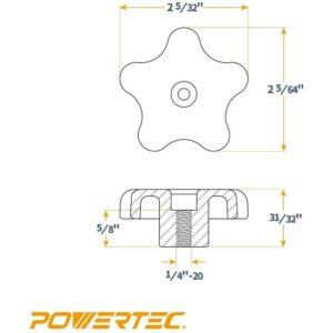 POWERTEC T-Track Knob Kits (12-Pack)