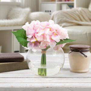 Pure Garden 7.5 in. Hydrangea Artificial Floral Pink Arrangement