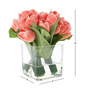Pure Garden Tulip Floral Arrangement with Vase and Faux Water