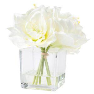 Pure Garden 8.5 in. Lily Floral Cream Arrangement