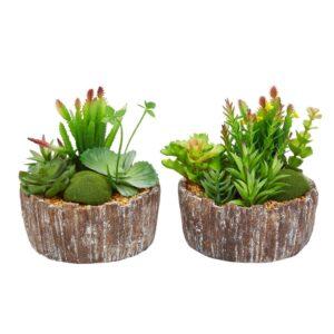 Pure Garden 8 in. Faux Succulent Arrangement with Decorative Concrete Planter (Set of 2)