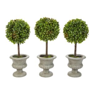 Pure Garden 12.5 in. Faux Boxwood Topiary Arrangement with Decorative Urn (Set of 3)