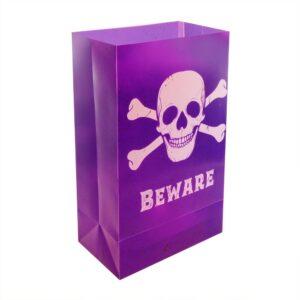 LUMABASE Skull and Crossbones Plastic Luminary Bags (12-Count)