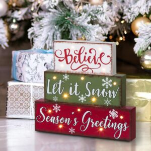 Glitzhome 11.81 in. L LED Lighted Multi-color Wooden/Metal Block Word Sign (14-Bulbs)