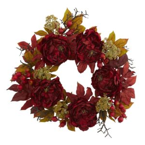 Nearly Natural 24 in. Peony Sedum Wreath