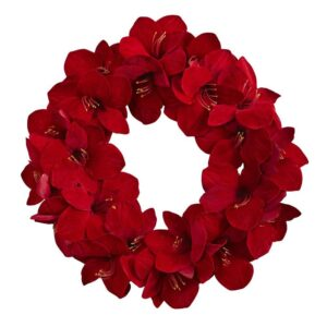 Nearly Natural 22 in. Amaryllis Artificial Wreath