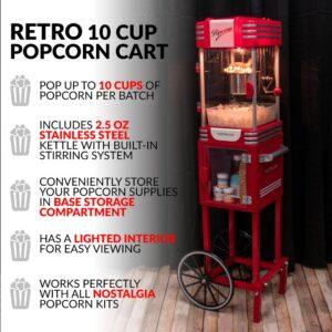 Nostalgia Retro 300 W 2.5 oz. Red Popcorn Cart with Lighted Interior