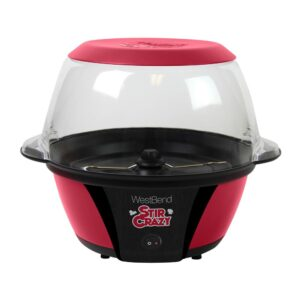 West Bend 6 oz. Red Stir Crazy Electric Hot Oil Popcorn Popper Machine with Stirring Rod Large Lid with Improved Butter Melting