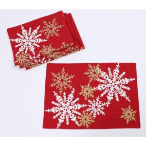 Manor Luxe 14 in. x 20 in. Red Magical Snowflakes Crewel Embroidered Christmas Placemats (Set of 4), Polyester