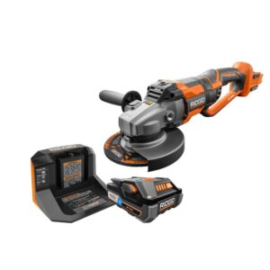 RIDGID 18-Volt OCTANE Cordless Brushless 7 in. Dual Angle Grinder Kit with (1) OCTANE Bluetooth 3.0 Ah Battery and Charger