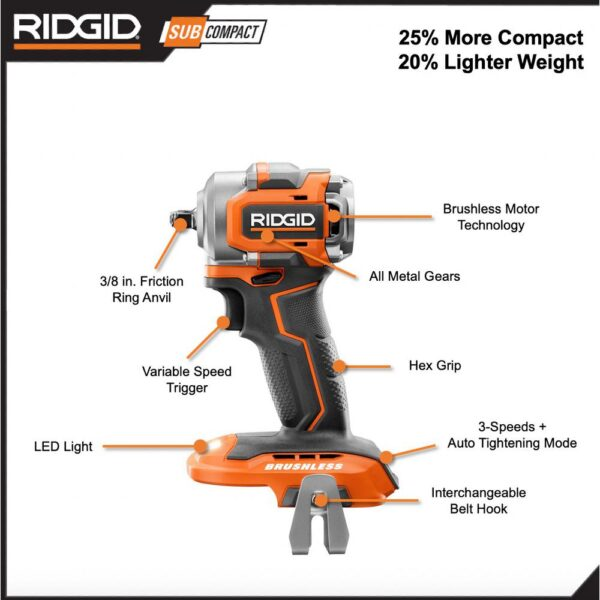 RIDGID 18-Volt SubCompact Lithium-Ion Brushless Cordless 3/8 in. Impact Wrench and 3 in. Multi-Material Saw (Tools Only)