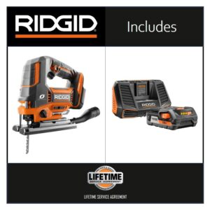 RIDGID 18-Volt OCTANE Jig Saw with 18-Volt Lithium-Ion 2.0 Ah Battery and Charger Kit