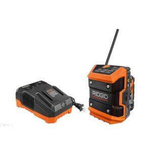 RIDGID 18-Volt Cordless Mini Bluetooth Radio with Radio App, 2.0 Ah Lithium-Ion Battery, and Charger