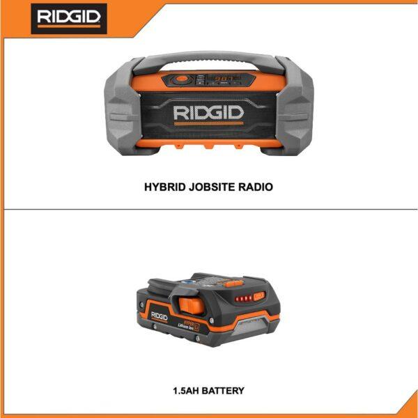 RIDGID 18-Volt Cordless Hybrid Jobsite Radio with Bluetooth Wireless Technology with 1.5 Ah Lithium-Ion Battery