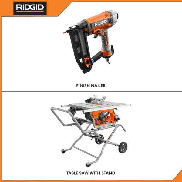 RIDGID 10 in. Pro Jobsite Table Saw with Stand and 16-Gauge 2-1/2 in. Straight Finish Nailer