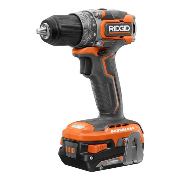 RIDGID 18V Brushless SubCompact 1/2 in. Drill/Driver Kit with 18V Drywall Cut-Out Tool, 2 Batteries, Charger, and Bag