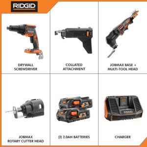 RIDGID 18-Volt Lithium-Ion Cordless Brushless Drywall Screwdriver with JobMax Multi-Tool, (2) 2.0 Ah Batteries, and Charger