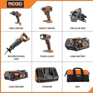 RIDGID 18-Volt Lithium-Ion Cordless Brushless 5-Tool Combo Kit with (1) 2.0 Ah and (1) 4.0 Ah Battery, 18-Volt Charger, and Bag
