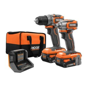 RIDGID 18V Brushless SubCompact Drill Driver and Impact Driver Combo Kit with (2) 2.0 Ah Batteries, Charger and Bag