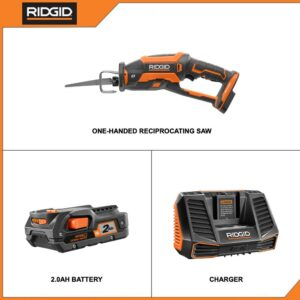 RIDGID 18-Volt OCTANE Cordless Brushless One-Handed Reciprocating Saw with 18-Volt Lithium-Ion 2.0 Ah Battery and Charger Kit