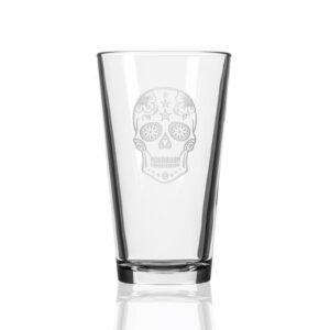 Rolf Glass Sugar Skull 16 oz. Pint Glass (Set of 4)