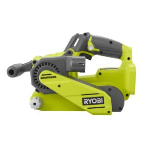 RYOBI 18-Volt ONE+ Cordless Brushless 3 in.x18 in. Belt Sander with Dust Bag and 80-Grit Sanding Belt with 16 ft. Tape Measure