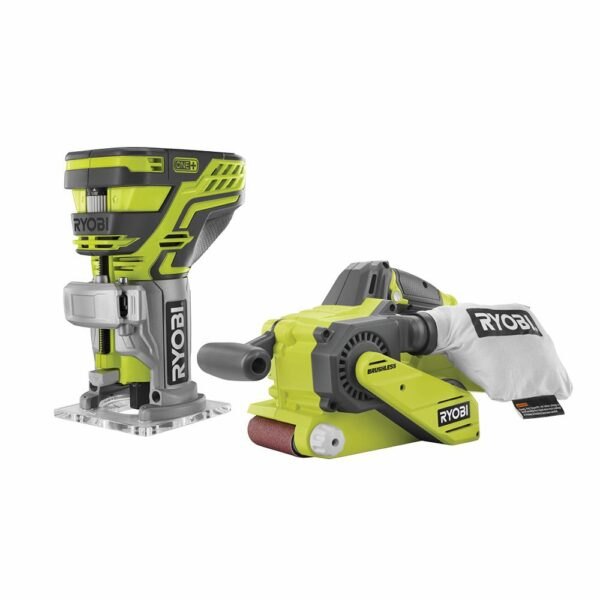 RYOBI 18-Volt ONE+ Lithium-Ion Brushless Cordless 3 in. x 18 in. Belt Sander and Fixed Base Trim Router (Tools Only)