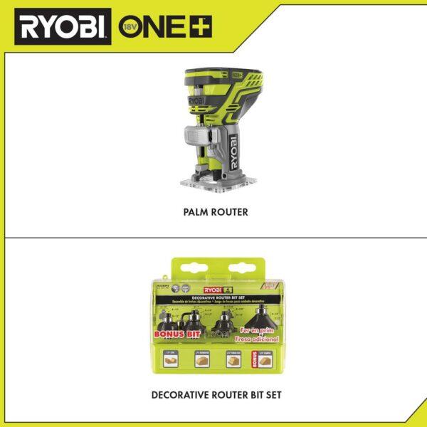 RYOBI 18-Volt ONE+ Cordless Fixed Base Trim Router with Decorative Router Bit Set (4-Piece)