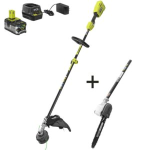 RYOBI ONE+ 18-Volt Cordless Attachment Capable Brushless String Trimmer and Pruner, 4.0 Ah Battery and Charger Included
