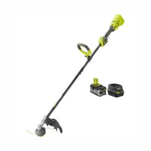 RYOBI ONE+ 18-Volt Lithium-Ion Brushless Cordless String Trimmer - 4.0 Ah Battery and Charger Included