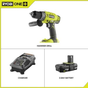 RYOBI 18-Volt ONE+ Cordless 1/2 in. Hammer Drill/Driver with Handle with 2.0 Ah Battery and Charger Kit