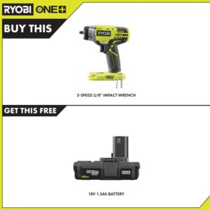 RYOBI 18-Volt ONE+ Cordless 3/8 in. 3-Speed Impact Wrench with 1.5 Ah Compact Lithium-Ion Battery