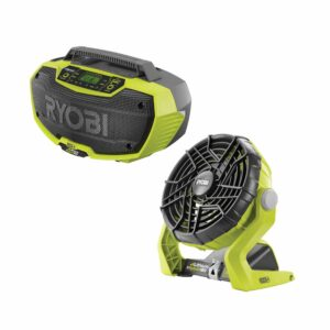 RYOBI 18-Volt ONE+ Lithium-Ion Cordless Hybrid Stereo with Bluetooth Wireless Technology and Hybrid Portable Fan (Tools Only)