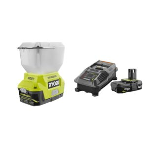 RYOBI 18-Volt ONE+ Cordless EVERCHARGE LED Area Light and Wall Mount Adaptor Charger with 2.0 Ah Battery and Charger Kit