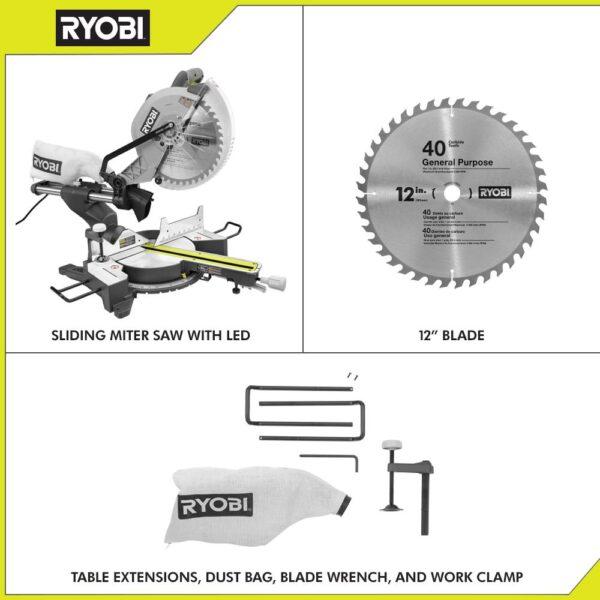 RYOBI 12 in. Sliding Compound Miter Saw with LED
