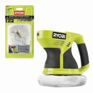 RYOBI ONE+ 18V Cordless 6 in. Buffer (Tool Only) w/ Extra 4-7 in. Microfiber and Synthetic Fleece Buffing Bonnet Set (2-Piece)