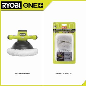 RYOBI ONE+ 18V Cordless 10 in. Orbital Buffer with Extra 8-10 in. Microfiber and Synthetic Fleece Buffing Bonnet Set (2-Pack)