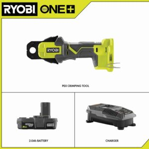 RYOBI 18-Volt ONE+ PEX Crimp Ring Press Tool with 2.0 Ah Lithium-Ion Battery and Dual Chemistry IntelliPort Charger