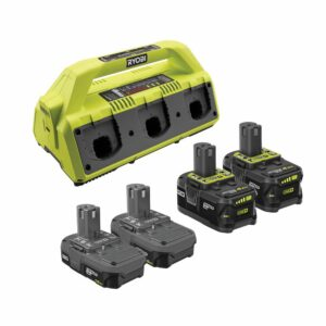 RYOBI ONE+ 18V Super Charger Kit with (2) 1.5 Ah Battery and (2) 4.0 Ah Battery