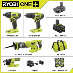 RYOBI 18-Volt ONE+ Cordless 4-Tool Combo Kit w/ (2) Batteries, Charger & Bag w/ BONUS Impact Rated Driving Kit (70-Piece)