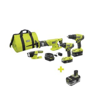 RYOBI 18-Volt ONE+ Lithium-ion Cordless 4-Tool Combo Kit with Free 18-Volt ONE+ 4.0 Ah LITHIUM+ HP High Capacity Battery